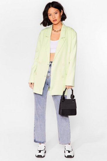 Mint Working It Out Double Breasted Longline Blazer