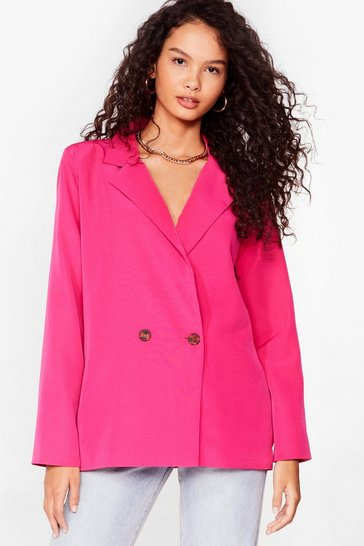 Fuchsia Top of the Agenda Oversized Blazer