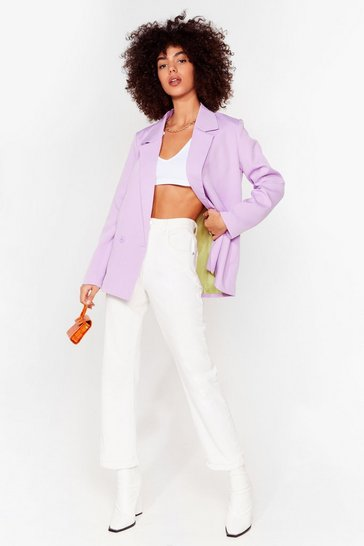 Lilac Top of the Agenda Oversized Blazer