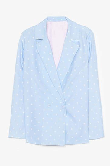 Blue Star Print Oversized Blazer