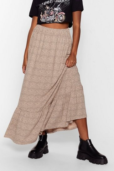 Beige Dot At All Ruffle Hem Maxi Skirt