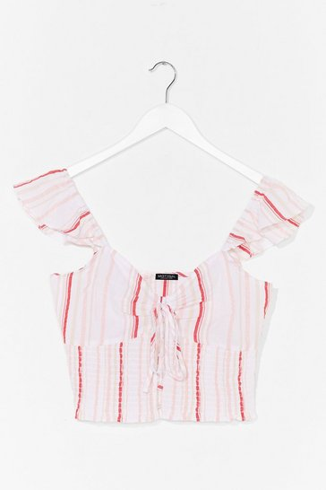 White Tie Your Luck Ruffle Crop Top