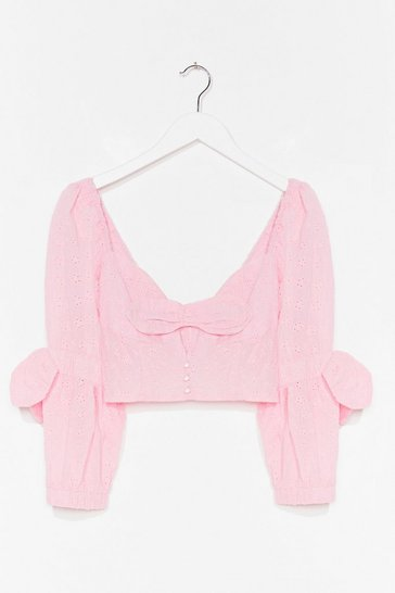 Pink Oh Your Broderie Talks Crop Top