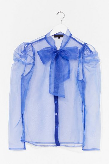 Purple Bow 'Em How It's Done Organza Blouse