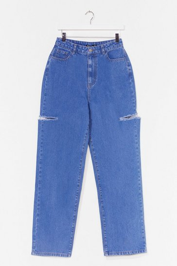 Blue Cut Ties Distressed Wide-Leg Jeans