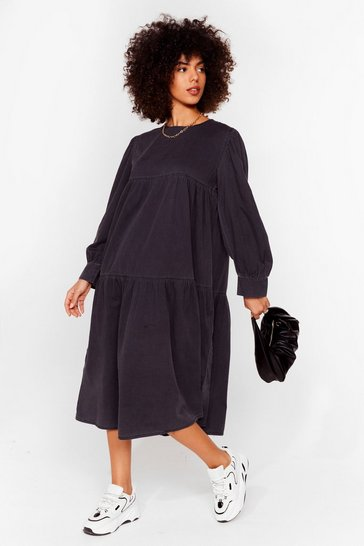 Washed black Smock and Roll Denim Midi Dress