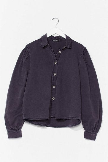 Washed black Wash We Think Puff Sleeve Denim Shirt