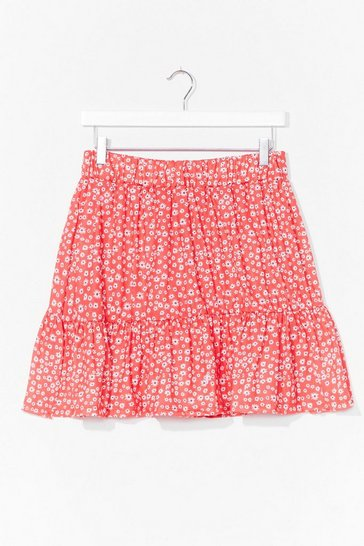 Red A Real Natural Floral Mini Skirt