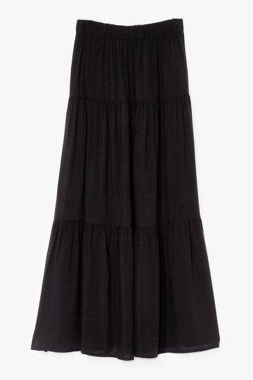 Black Tier It Up High-Waisted Maxi Skirt