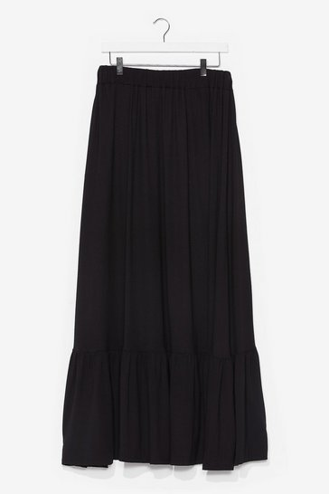 Black Huh Hem Relaxed Maxi Skirt
