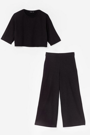 Ensemble côtelé crop top & pantalon jupe-culotte, Black