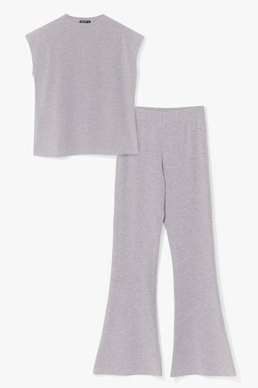 Grey marl Time to Team Up Top and Flare Pants Set