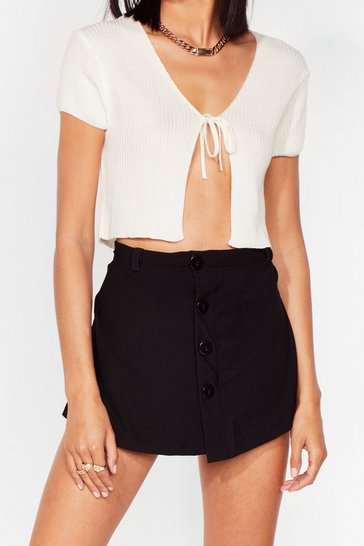 Black Just Wait a Mini Button-Down Skort Shorts