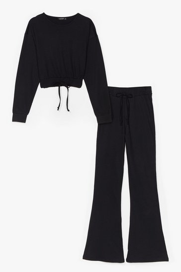 Black Flare is Flare Cropped Sweatshirt and Pants Set