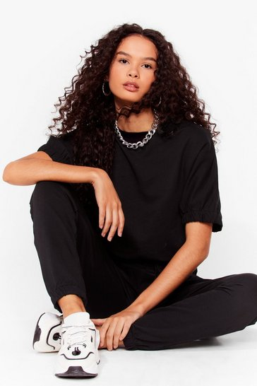 Black Comfort is Key Relaxed Tee and Jogger Set