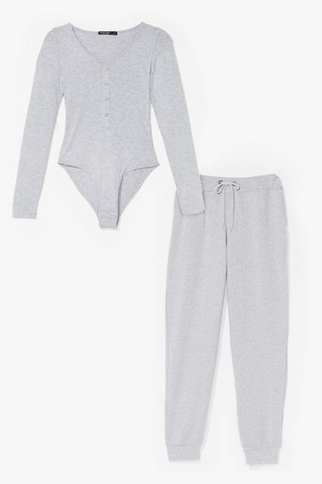 Grey BUTTON FRONT BODYSUIT AND JOGGER CO ORD SET
