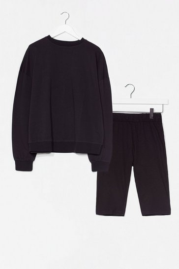 Black All Together Now Sweatshirt and Biker Short Set