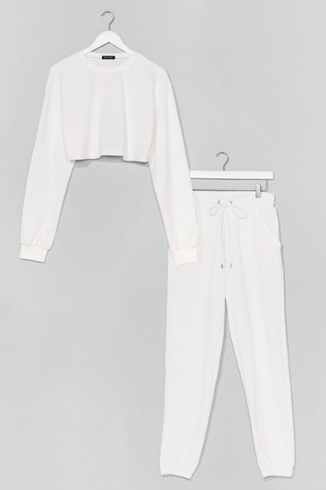 White CROPPED SWEAT AND JOGGER CO ORD SET
