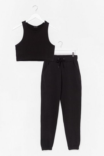 Black RACER NECK CROP AND JOGGER CO ORD SET