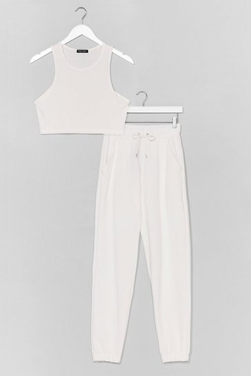 Ecru RACER NECK CROP AND JOGGER CO ORD SET