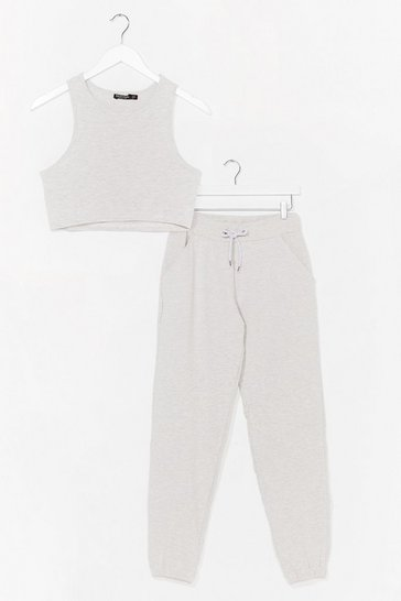 Grey Right Back to You Crop Top and Jogger Set
