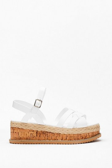 White Multi Strap Cork Flatform Sandals