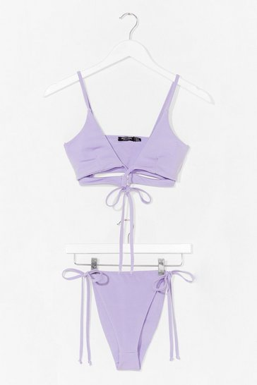 Lilac Let's Tessellate High-Leg Triangle Bikini Set