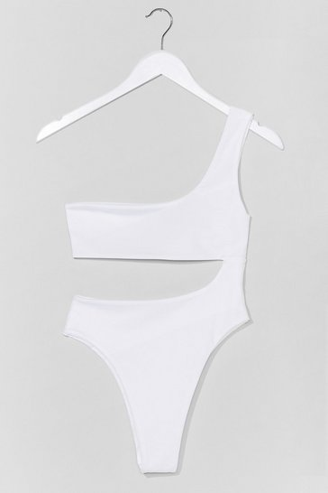 White Cut Above the Rest One Shoulder Swimsuit