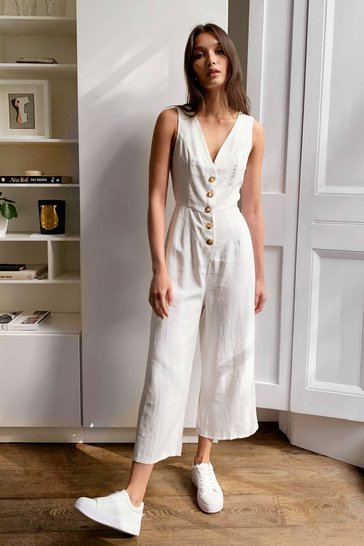 White We'll V There Button-Down Jumpsuit
