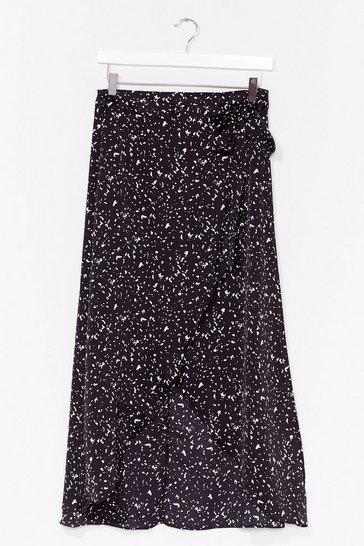 Black spot wrap maxi skirt