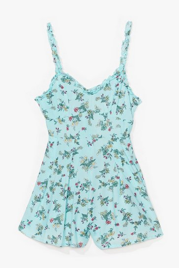 Green Bud Morning Floral Tie Romper