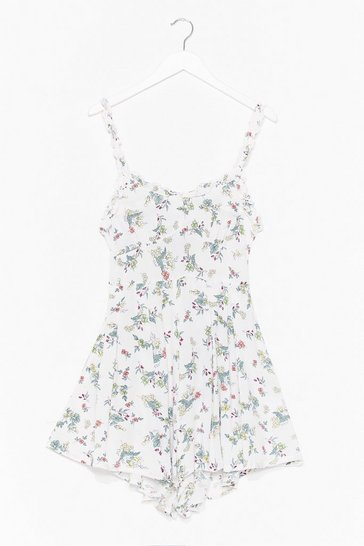 White Bud Morning Floral Tie Playsuit