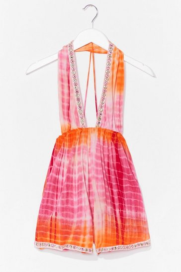 Pink Got My Tie Dye On You Plunging Halter Romper