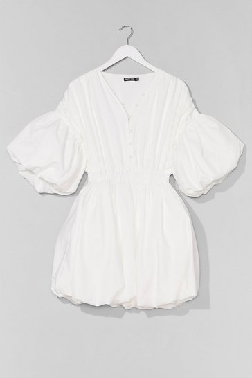 White Oversized Puff Sleeve Mini Dress