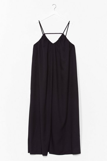 Black Strappy V-Neck Flowy Maxi Dress