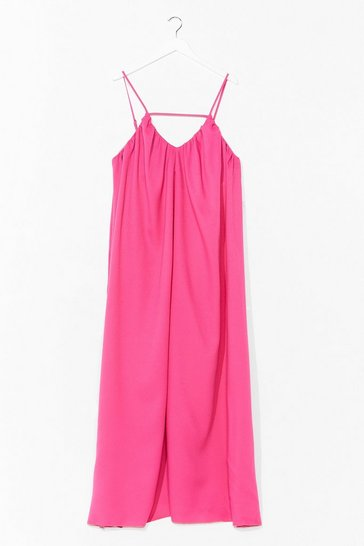 Pink Strappy V-Neck Flowy Maxi Dress