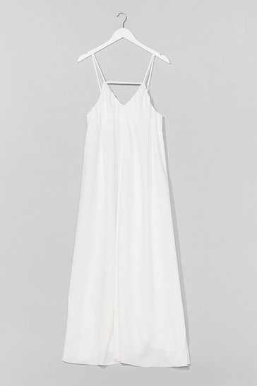 White V-Neck and Call Relaxed Maxi Dress