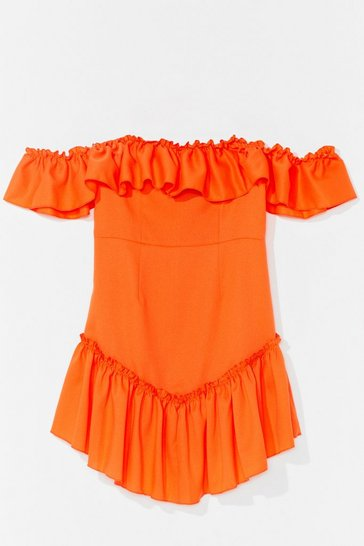 Orange Frill Loving You Ruffle Mini Dress
