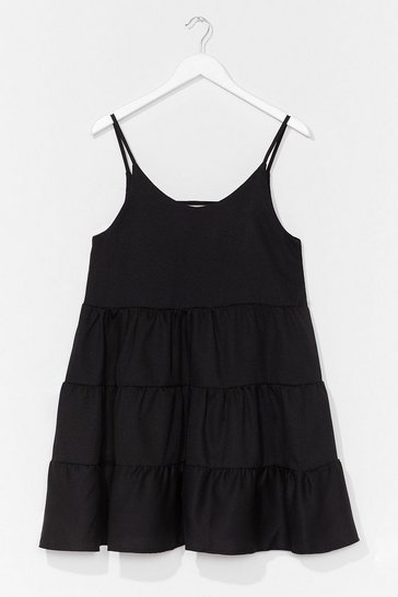 Black Tiered Mini Swing Dress