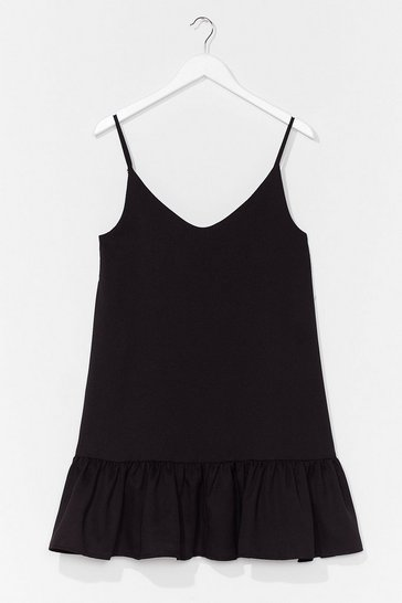 Black Drop Hem Cami Mini Dress