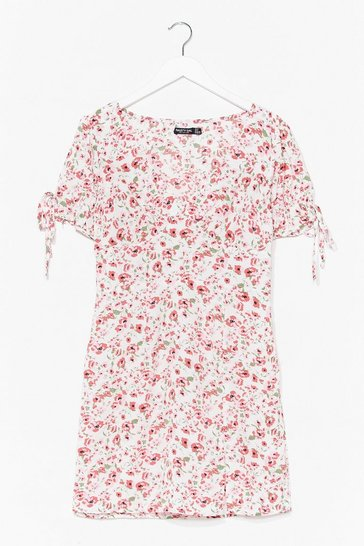 White Let Your Love Grow Floral Mini Dress