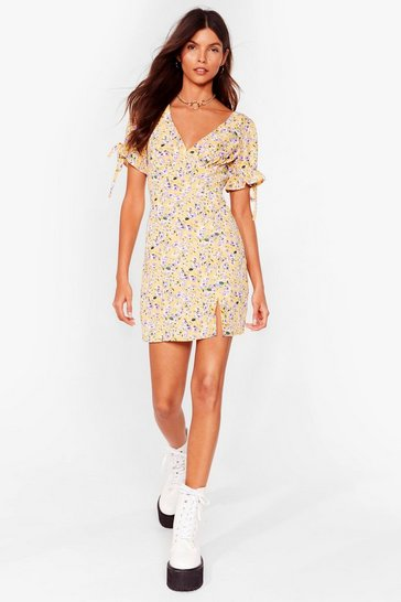 Yellow Let Your Love Grow Floral Mini Dress