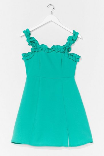 Bright green Hit Ruffle Square Neck A-Line Dress