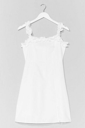 White Hit Ruffle Square Neck A-Line Dress