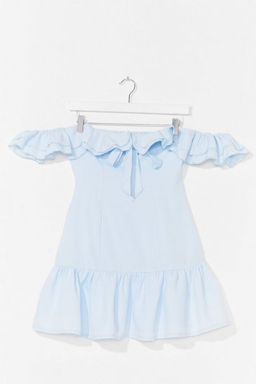 Light blue Lost For Words Off-the-Shoulder Ruffle Dress