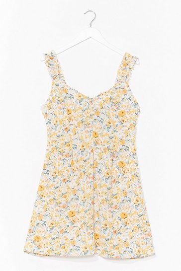 Yellow Floral Retreat A-Line Mini Dress