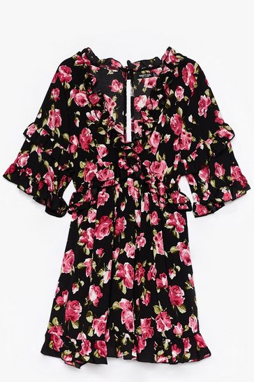 Black Grow for It Floral Mini Dress