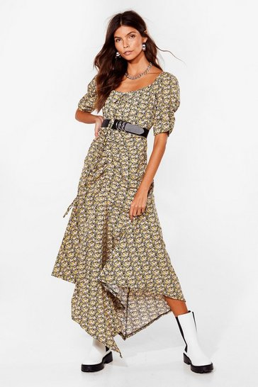 Black Can't Win Hem All Floral Maxi Dress