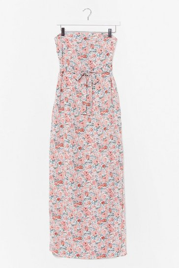 White I Bring You Flowers Bandeau Maxi Dress