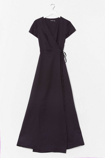 Black Let's Wrap This Up Belted Maxi Dress